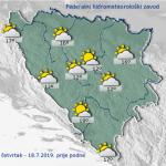 U BiH danas sunčano uz umjerenu oblačnost, u drugom dijelu dana lokalni pljuskovi i grmljavina