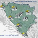 U BiH danas pretežno oblačno s kišom ili susnježicom