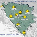 U BiH danas sunčano i toplo, poslije podne porast naoblake, pljuskovi i grmljavina