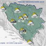 U BiH danas pretežno oblačno vrijeme sa kišom i pljuskovima