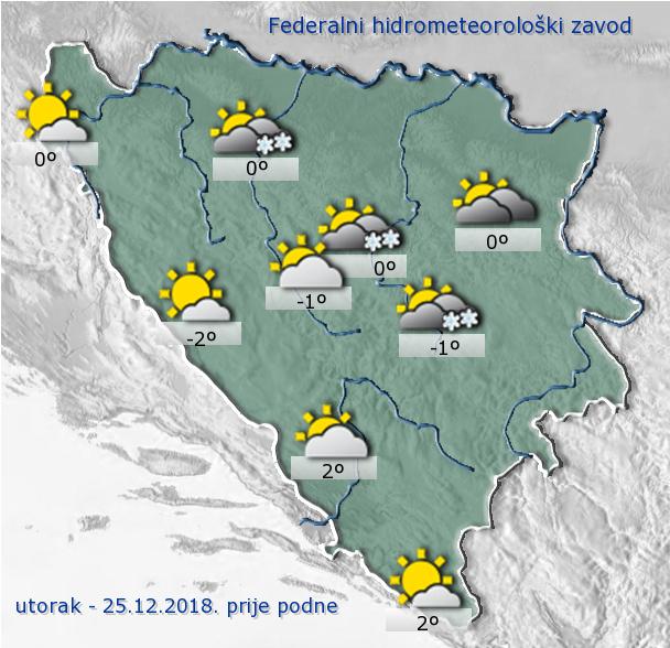Danas u BiH oblačno vrijeme sa slabim snijegom