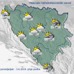 U BiH danas pretežno oblačno, poslije podne lokalni pljuskovi i grmljavina