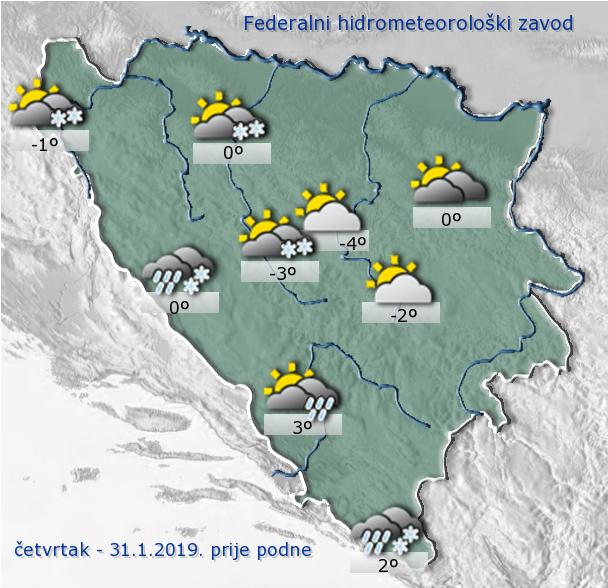 U BiH prije podne oblačno s padavinama
